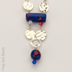 "OOAK Handmade Stars & Stripes Forever Beads Necklace. Jewelry: Necklace. Size: 24.75"" NEW WITH TAGS. PICK UP ONLY. Exclusive Design: Frog Eye Beads L… http://link.close5.com/m/GTnyxm5xUo"