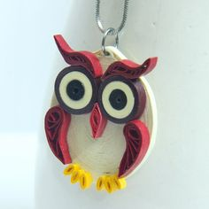 Maroon Owl Pendant Eco Friendly Fashion Handmade by by HoneysHive