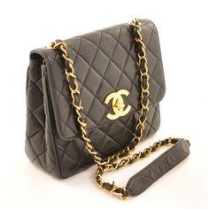 Black Lambskin Quilted Shoulder Bag by Chanel