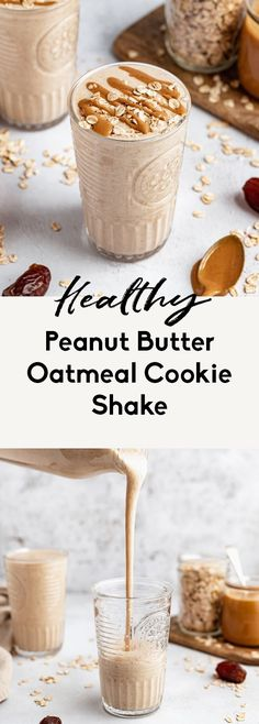 Deliciously creamy peanut butter oatmeal cookie shake made with no banana in just 10 minutes! This healthy, vegan oatmeal cookie shake is naturally sweetened with Medjool dates and packs in sneaky veggies from cauliflower. Options to add your favorite protein powder and other delicious mix-ins. #oatmeal #peanutbutter #smoothie #shake #breakfast #vegan #dairyfree #glutenfree #healthysnack #cauliflower Date Smoothie Recipes, Peanutbutter Smoothie Recipes, Shake Recipes, Healthy Peanut Butter Smoothie, Oatmeal Protein Shake, Oatmeal Smoothies, Oatmeal Cookie Smoothie, Green Smoothies, Healthy Smoothies