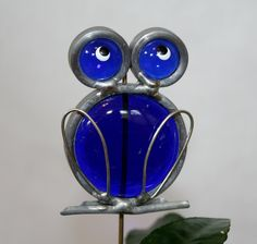 Stained Glass Blue Frog Plant Stake.