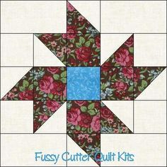 Scrappy Fabric Pinwheel Flowers Floral Easy Pre-Cut Quilt Blocks Top Kit