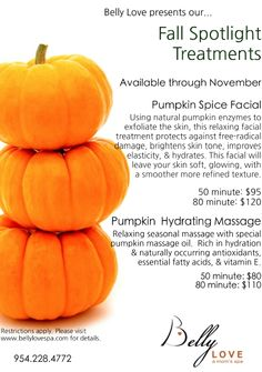 Fall Spotlight Pumpkin Treatments at Belly Love!