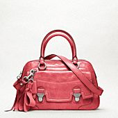Poppy leather pushlock satchel by coach