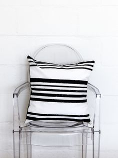 hand printed striped cushion - monoshop
