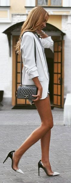 #spring #summer #street #style #outfitideas |Black And White Chic Street Style                                                                             Source