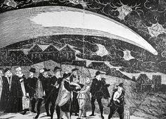 Great comet of 1577, seen over Prague on November 12. Engraving made by Jiri Daschitzky.