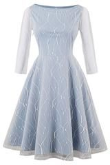 Elegant A Line Plain Fit and Flare Ball Gown Boat Neck Three Quarter Length Sleeve High Waist Blue Midi Length Embroidered Mesh Overlay Circle Dress Fit And Flare, Fit Flare Dress, Vintage 1950s Dresses, Vestidos Vintage, Vintage Lace, Vintage Style, Retro Vintage, Robe Swing, Swing Dress