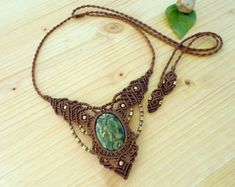 Rainforest jasper macrame necklace, macrame stone, rhyolite necklace, macrame jewelry, gypsy necklace, healing jewelry, macrame choker