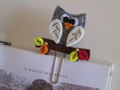 Owl bookmark - felt bookmark - felt paper clip - Fall Segnalibro/Graffetta con Gufo d'Autunno  Planner di TinyFeltHeart
