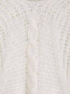 Pull en mohair col V manche longue -blanc -French SheIn(Sheinside)