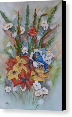 """Bold and Beautiful Flowers with a little Blue Bird attached!  Order Print sizes 6x10"""" to 39x60"""" http://fineartamerica.com/products/blue-bird-eats-thru-the-painting-kelly-mills-canvas-print.html"""