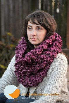 Plum Oversized Tall Cowl Scarf  Gift by littlebirdiedesign on Etsy, $55.00