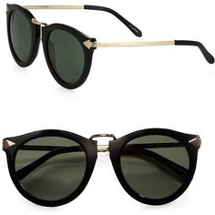Karen Walker Harvest Sunglasses ($290) ❤ liked on Polyvore featuring accessories, eyewear, sunglasses, glasses, sunnies, apparel & accessories, black, black sunglasses, karen walker and karen walker eyewear