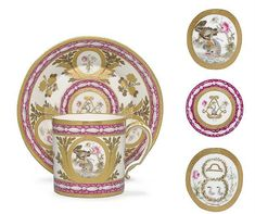 A SEVRES (HARD PASTE) FAUX PINK MARBLE GROUND CUP AND SAUCER (GOBELET 'LITRON' 2EME GRANDEUR ET SA SOUCOUPE)<br />PUCE CROWNED INTERLACED L'S ENCLOSING DATE LETTERS dd FOR 1781 AND PAINTER'S MARK FOR FALLOT TO BOTH<br />The cup on one side with Jupiter as an eagle crowning a dolphin, a white lily and a pink rose growing from a mound at the right; the other side with a rebus; the saucer with gilt interlaced L's enclosing a dolphin holding in its mouth a rose and a lily, the border with three…