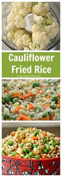 Cauliflower Fried Rice Recipe - Healthy, low-carb, and seriously tasty! Tastes so much like the Chinese takeout but without the guilt. Perfect healthy side dish. More on livingsweetmoments.com