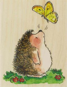 Flutter by by Penny Black (these are stamps)You can find Penny black and more on our website.Flutter by by Penny Black (these are stamps) Hedgehog Art, Cute Hedgehog, Animal Drawings, Cute Drawings, Penny Black Cards, Illustration Art, Illustrations, Watercolor Cards, Whimsical Art
