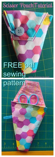 FREE downloadable pdf sewing pattern. The perfect small pouch to carry your embroidery and thread scissors in when travelling or keeping them safe.