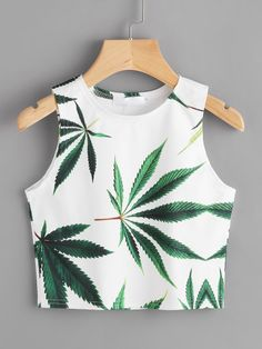 Casual Tank Plants Regular Fit Round Neck Multicolor Crop Length Leaf Print Crop Tank Top - Young Boho Tank Plants Regular Fit Round Neck White Crop Length Leaf Print Crop Tank Top Source by - Girls Fashion Clothes, Teen Fashion Outfits, Mode Outfits, Woman Outfits, Girl Fashion, Woman Clothing, Fashion Black, Fashion Women, Style Fashion