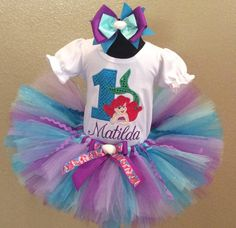 Aqua Lavender Ariel Mermaid Birthday Girls Tutu Outfit