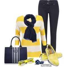 Casual Navy & Yellow - Polyvore