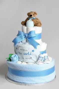 Baby Boy Nappy Diaper Cake