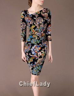 Vintage Floral Printing Pattern Dress Elegant Retro by Chieflady, $122.00