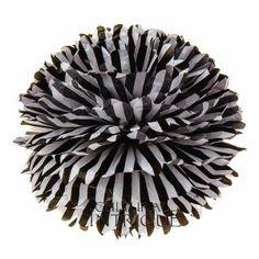 Black 15 Inch Tissue Paper Pom Pom (striped design) // I LOVE!!!!