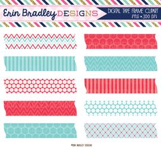 Summer Days Blue & Red Digital Washi Tape Clipart Instant Download Graphics Personal & Commercial Use Frame Tags