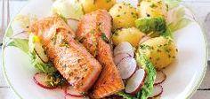 Losos na salátu s novými bramborami Penne, Pasta, Fresh Rolls, Potato Salad, Turkey, Potatoes, Cooking Recipes, Chicken, Meat