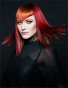 The Newcomer Stylist category features stylists with less than three years of experience as a licensed cosmetologist. See the finalists! Cut And Style, Cut And Color, V Bangs, Collor, Naha, Hair Shows, Red Hair Color, Cool Eyes, Amazing Eyes