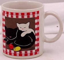 Vintage Japan Cat Coffee Mug Linda Morgan Kittens