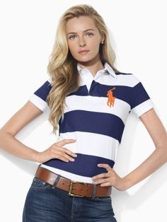ralph lauren outlet store online Women\u0026#39;s Short-Sleeved Striped Short Sleeve Polo Shirt French Navy