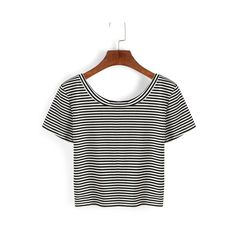SheIn(sheinside) Thin Striped Crop T-shirt - Black ($7.99) ❤ liked on Polyvore featuring tops, t-shirts, black, striped crop tee, round neck t shirt, stretch t shirt, striped tees and summer t shirts