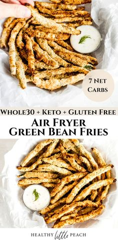 Are you looking for a crispy, salty snack that won't ruin your diet? These easy Air Fryer Green Beans are a healthier option that can serve as an appetizer, snack or crunch side dish. Only 7 NET carbs and Whole30, Keto and Paleo compliant. #keto #ketorecipes #whole30 #airfryergreenbeans #greenbeanrecipes #airfryerrecipes #paleo #ketosnacks #ketofries Healthy Vegetable Recipes, Paleo Vegetables, Healthy Dinner Recipes, Vegetarian Recipes, Cooking Recipes, Veggies, Healty Dinner, Healthy Options, Air Fried Green Beans