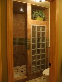 Master Shower Remodeling Glass Walls and Walk In Shower Remodel Ideas. Diy Bathroom, Pretty Bathrooms, Bathroom Makeover, Small Bathroom Remodel Designs, Glass Block Shower, Bathroom Flooring, Bathroom Shower, Bathroom Shower Design, Tile Bathroom