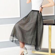 409975d1e70 2017 spring summer new fish net hollow half skirt pompong yarn skirt sexy  high waist was