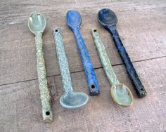 Instant Collection of Ceramic Spoons - Handmade Stoneware Spoons - Blues and Greens