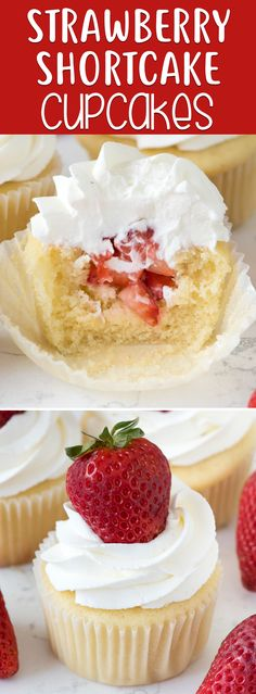 Strawberry Shortcake Cupcakes start with a vanilla cupcake and are filled with fresh strawberries and topped with whipped cream. These are a fun cupcake version of the traditional strawberry shortcake recipe and everyone loves them! via @easygoodideas