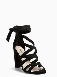 Black Strappy Lace-Up Heel Sandal (Wide Width) 6f0cfe251349