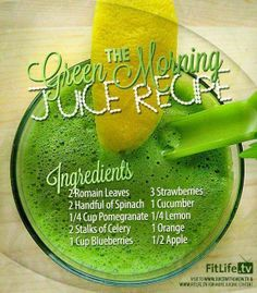 the green morning juice with pomegranate | facebook.com/VegetableJuicing | (modified) 2 romaine leaves, 2 handful of spinach, 2 stalk of celery, 1 cucumber, 1 c pomegranate, 1/4 lemon, 1 orange, 1 apple, makes approx. 32 oz