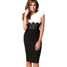 Black & White Short Sleeves Knee Length Pencil Dress with Lace Waist