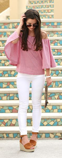 Red and white Banana Republic structured off-shoulder top with Express white skinny jeans, Steve Madden cognac espadrille sandals, and a leopard Clare V clutch
