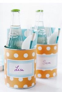 "Picnic cans. Love this! Recycle tin cans for your utensils and place ""card"" at events."