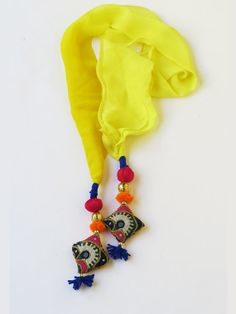 Kutch and lemon Funky Jewelry, Fabric Jewelry, Handmade Jewelry, Summer Design, Summer Scarves, Stitch Design, Indian Designer Wear, Neck Warmer, Womens Scarves