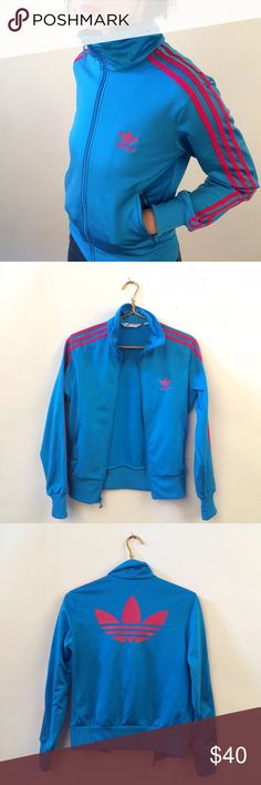 Adidas track jacket Like new, size small, blue with pinkish/reddish stripes Adidas Jackets & Coats