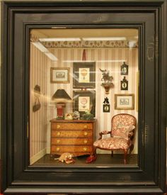 Planning Pays Off In Better Miniature Scenes: What Size and Scope Do You Need for Your Display? Miniature Plants, Miniature Rooms, Miniature Houses, Miniature Furniture, Dollhouse Furniture, Christmas Shadow Boxes, Vitrine Miniature, Shadow Box Art, Paperclay