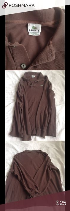 Men's Size 8 (XXL) Lacoste long sleeve polo shirt Men's Size 8 (XXL) Lacoste long sleeve polo shirt in a chocolate brown. Great used condition ... No holes or snags. All buttons are attached however the second button is loose and should be re sewn for security Lacoste Shirts Polos