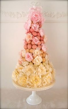 Croquembouche with Rice Paper Peonies by Makiko Searle
