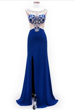 KC131511 Blue Mock 2 Piece Prom Dress by Kari Chang Couture. This eye catching prom dress has the look of a 2 piece gown with the ease of wear of a 1 piece. It features jeweling, a high leg slit and a